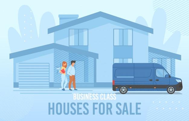 Banner de aluguel imobiliário com casal sorridente novo proprietário