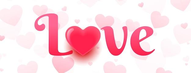 Banner de amor com desenho de padrão de corações