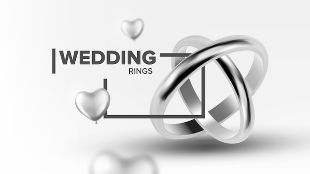 Banner de anéis de casamento de jóias de platina