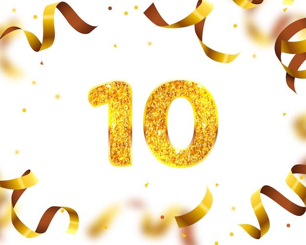 Banner de aniversário 10, mosca de fita dourada. ilustração vetorial