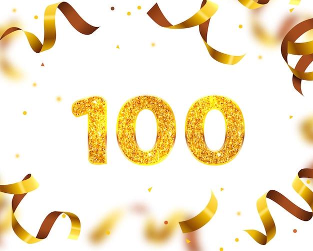Banner de aniversário 100º, mosca de fita dourada. ilustração vetorial