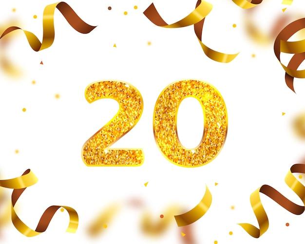 Banner de aniversário 20, mosca de fita dourada. ilustração vetorial