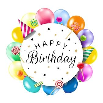 Banner de aniversário com balões coloridos com gradiente de malha, ilustração