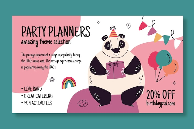 Banner de aniversário com urso panda