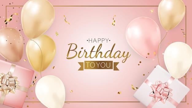 Banner de aniversário de festa feliz com balões realistas, moldura, caixa de presente e confetes.