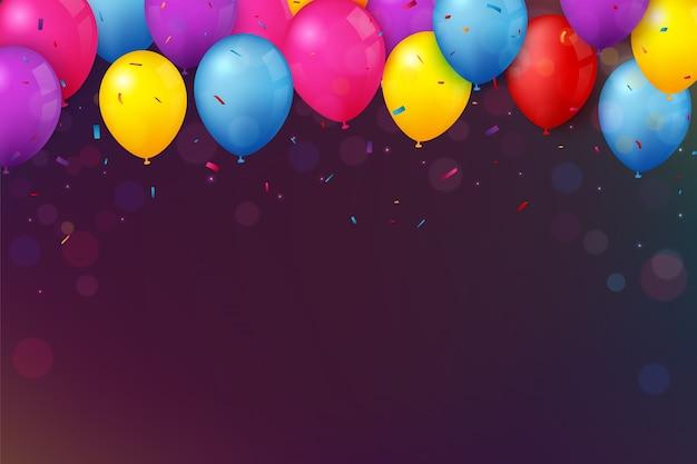 Banner de aniversário e comemoração com balão colorido