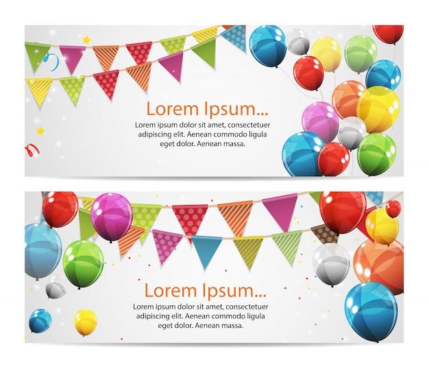 Banner de aniversário festa com bandeiras e balões ilustração em vetor