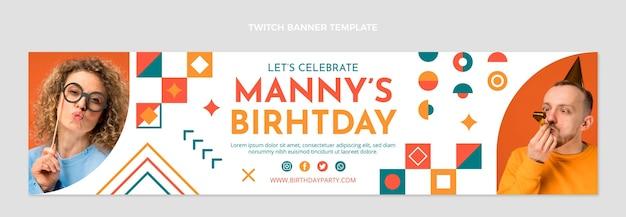 Banner de aniversário twitch em mosaico de design plano