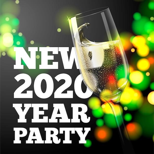Banner de ano novo com copo de champanhe transparente no fundo brilhante