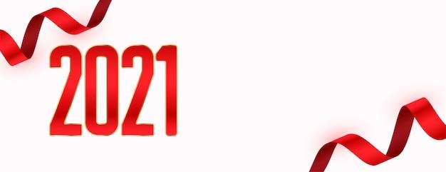 Banner de ano novo com fitas vermelhas