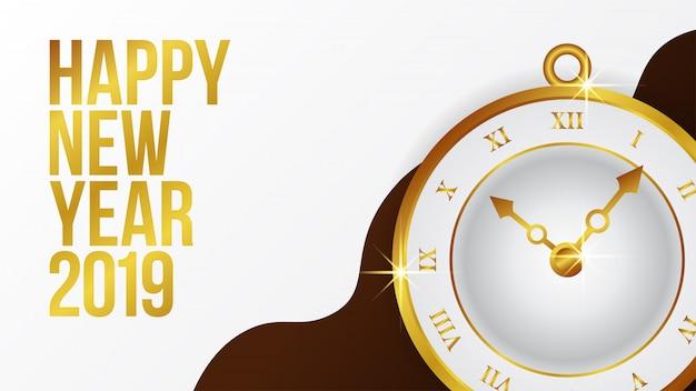 Banner de ano novo com relógio clássico