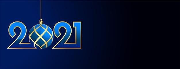 Banner de ano novo de 2021 com desenho de bola de natal