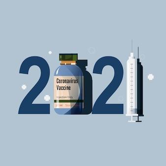 Banner de ano novo de 2021 com vacina e vírus covid-19