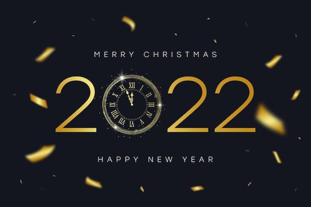 Banner de ano novo e feliz natal de 2022 com relógio vintage dourado com algarismos e confetes dourados