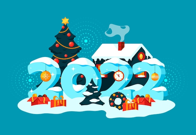 Banner de ano novo ou cartão de fundo de férias