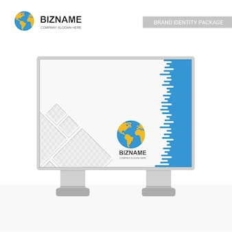 Banner de anúncio da empresa com o logotipo do mapa do mundo