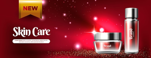 Banner de anúncio de cosméticos realistas