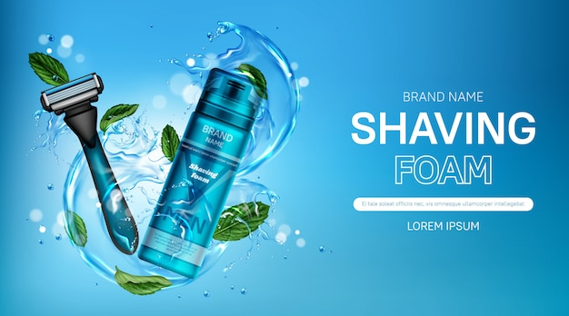 Banner de anúncio de espuma de barbear e lâmina de barbear de segurança