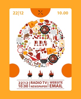 Banner de anúncio de festa para churrasco ícones de churrasco na composição do quadro redondo