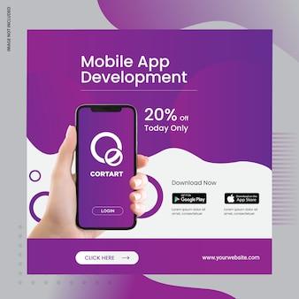 Banner de anúncio de mídia social de aplicativo para dispositivos móveis