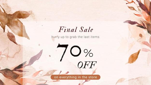 Banner de anúncio de moda de vetor de modelo de aquarela de venda outono