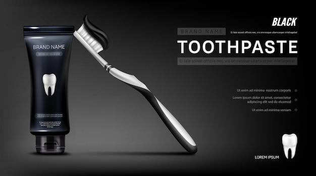 Banner de anúncio de pasta de dente preta com escova e dente