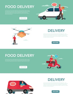 Banner de anúncio de serviço de entrega de comida ou cabeçalho de site definido. correio de uniforme com caixa do caminhão e scooter. logística.