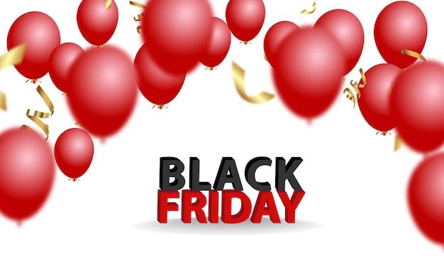 Banner de anúncio de venda de sexta-feira negra com balões brilhantes.