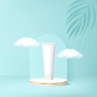 Banner de anúncios de cosméticos com pódio. ilustração vetorial fundo 3d