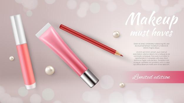 Banner de anúncios de cosméticos.