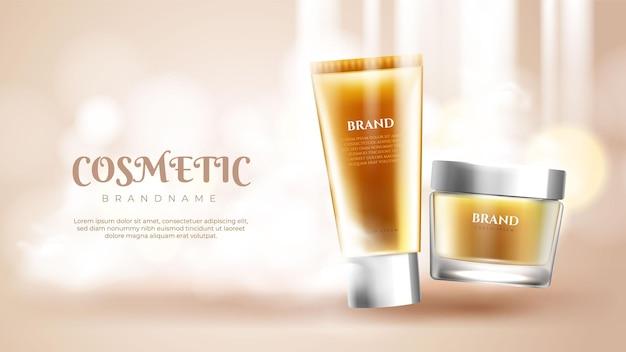 Banner de anúncios de produtos para cuidados com a pele
