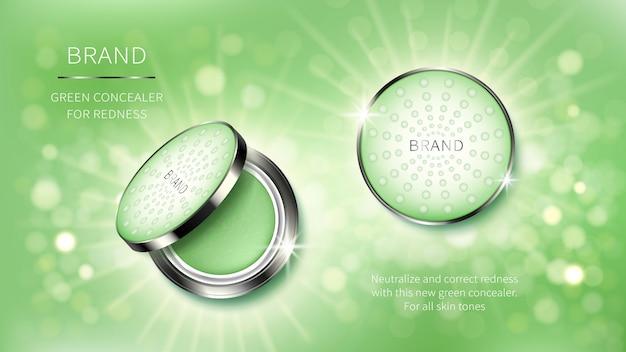 Banner de anúncios realista cosméticos com corretor para maquiagem perfeita.