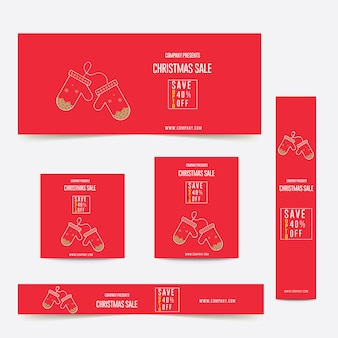 Banner de anúncios web de cor vermelha feliz tema de natal