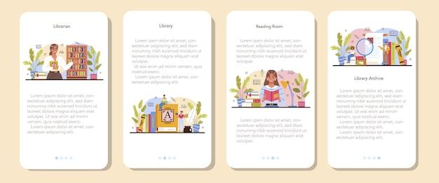Banner de aplicativo móvel bibliotecário conjunto catalogação de equipe de biblioteca