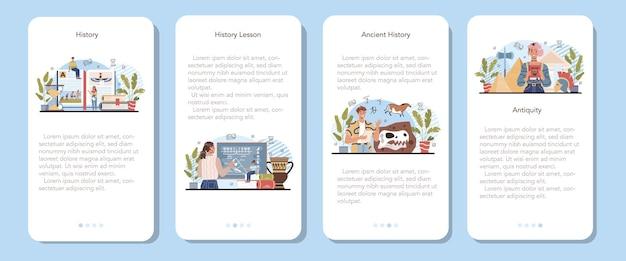 Banner de aplicativo móvel de aula de história definir matéria escolar de história