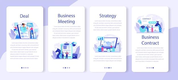 Banner de aplicativo móvel de negócio definido em design plano.