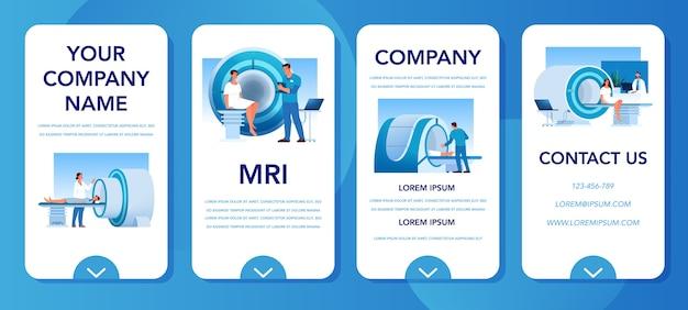 Banner de aplicativo móvel de ressonância magnética. pesquisa e diagnóstico médico. scanner tomográfico moderno. conceito de cuidados de saúde. anúncio de aplicativo de ressonância magnética e infográficos.