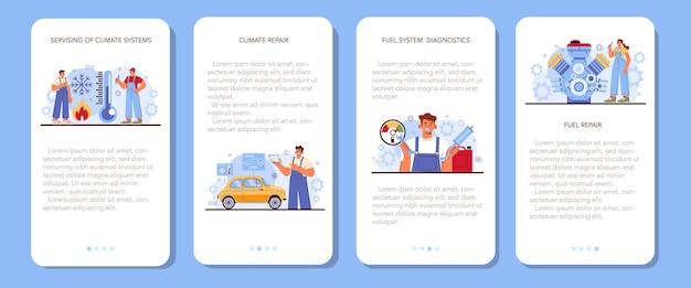 Banner de aplicativo móvel de serviço de carro definido mecânico em verificação uniforme
