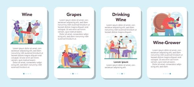 Banner de aplicativo móvel wine definido vinho de uva em uma garrafa