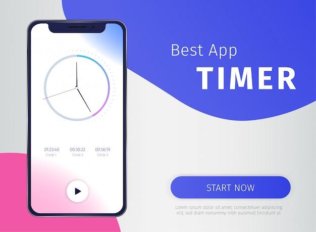 Banner de aplicativo temporizador com símbolos da tecnologia móvel digital