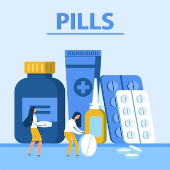 Banner de apresentação com comprimidos em diferentes embalagens