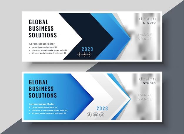 Banner de apresentação corporativa estilo seta azul