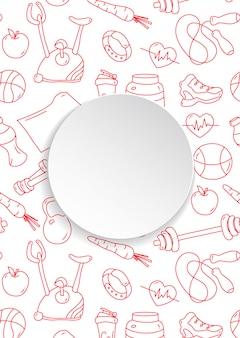 Banner de aptidão com padrão de ginásio desenhado de mão e prato de papel 3d. ícones do doodle para exercícios e exercícios saudáveis. arte de linha de estilo de vida do esporte.