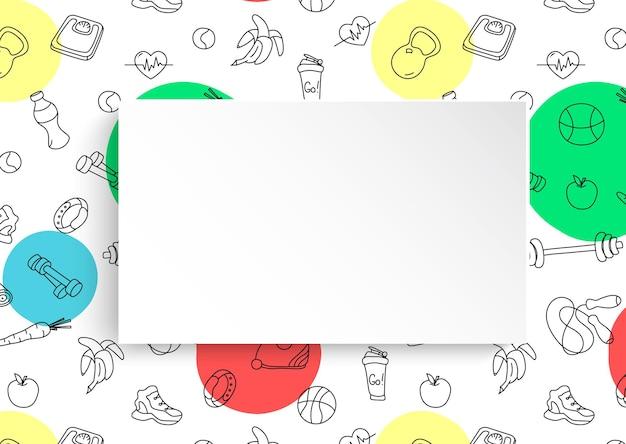 Banner de aptidão com padrão de ginásio desenhado de mão e prato de papel 3d.