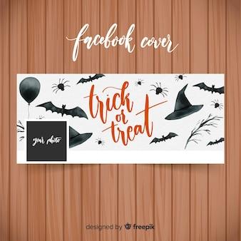 Banner de aquarela facebook com conceito de halloween
