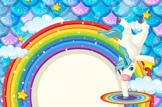 Banner de arco-íris com lindo unicórnio em fundo de escamas de peixes coloridos