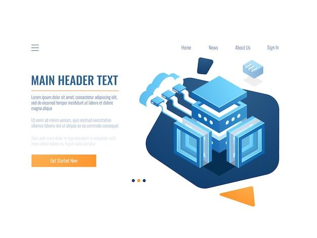 Banner de armazenamento de nuvem de dados, ícone de conexão no armazém de arquivos remoto, objeto de tecnologia