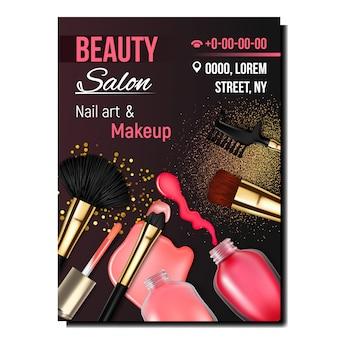 Banner de arte e maquiagem de unha de salão de beleza