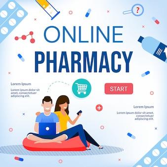Banner de assistência médica de farmácia on-line
