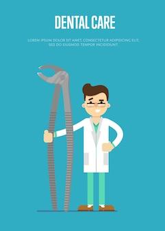 Banner de atendimento odontológico com dentista masculino
